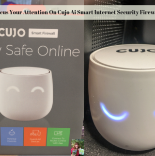 The first photo shows Cujo Ai Smart Internet Security Firewall in the box and the second photo shows it working.