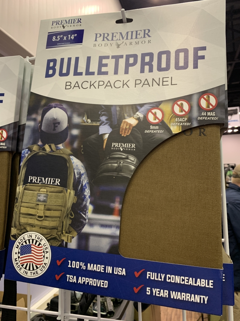 A bulletproof backpack panel.